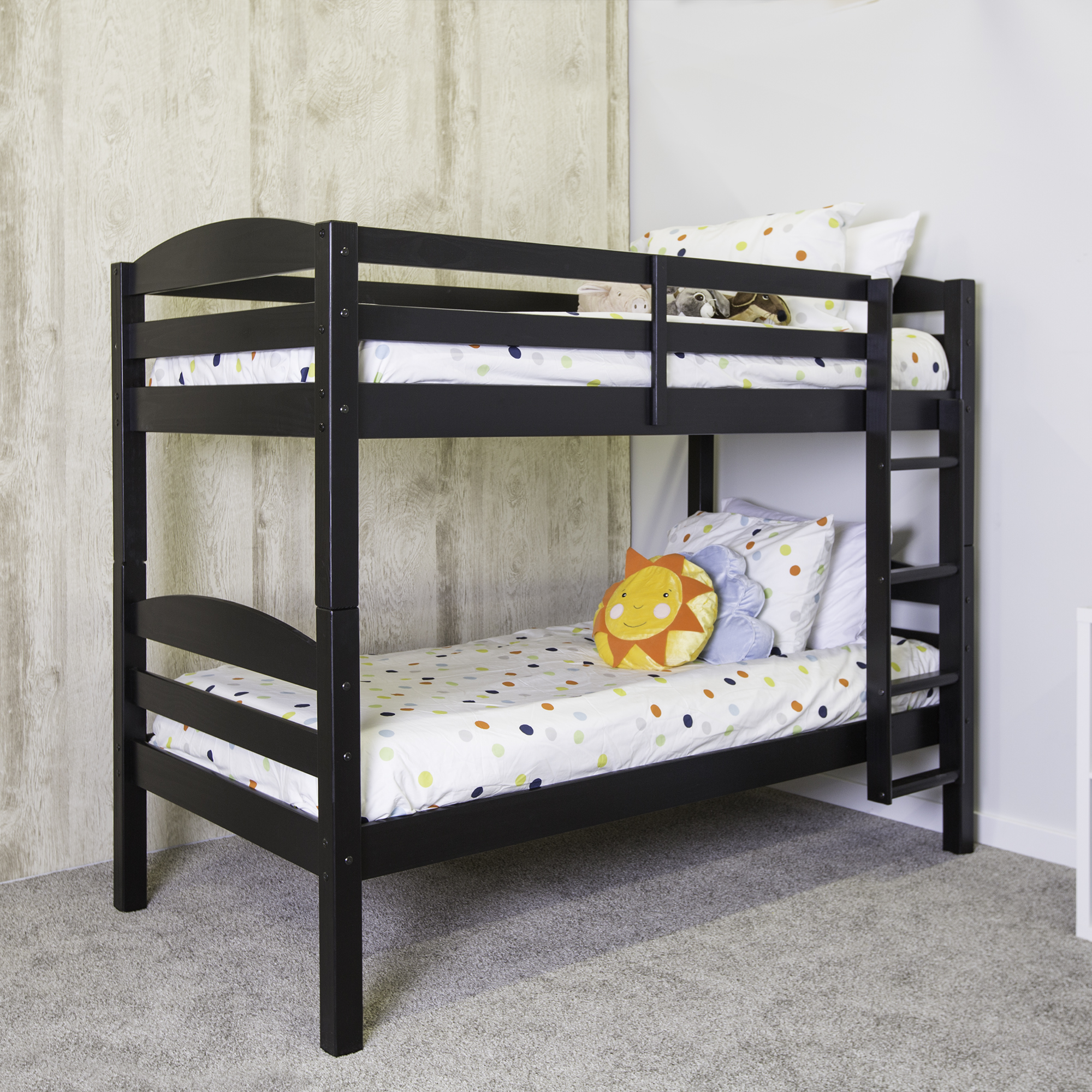 Twin Over Twin Solid Wood Bunk Bed Black Multiple Colors Available