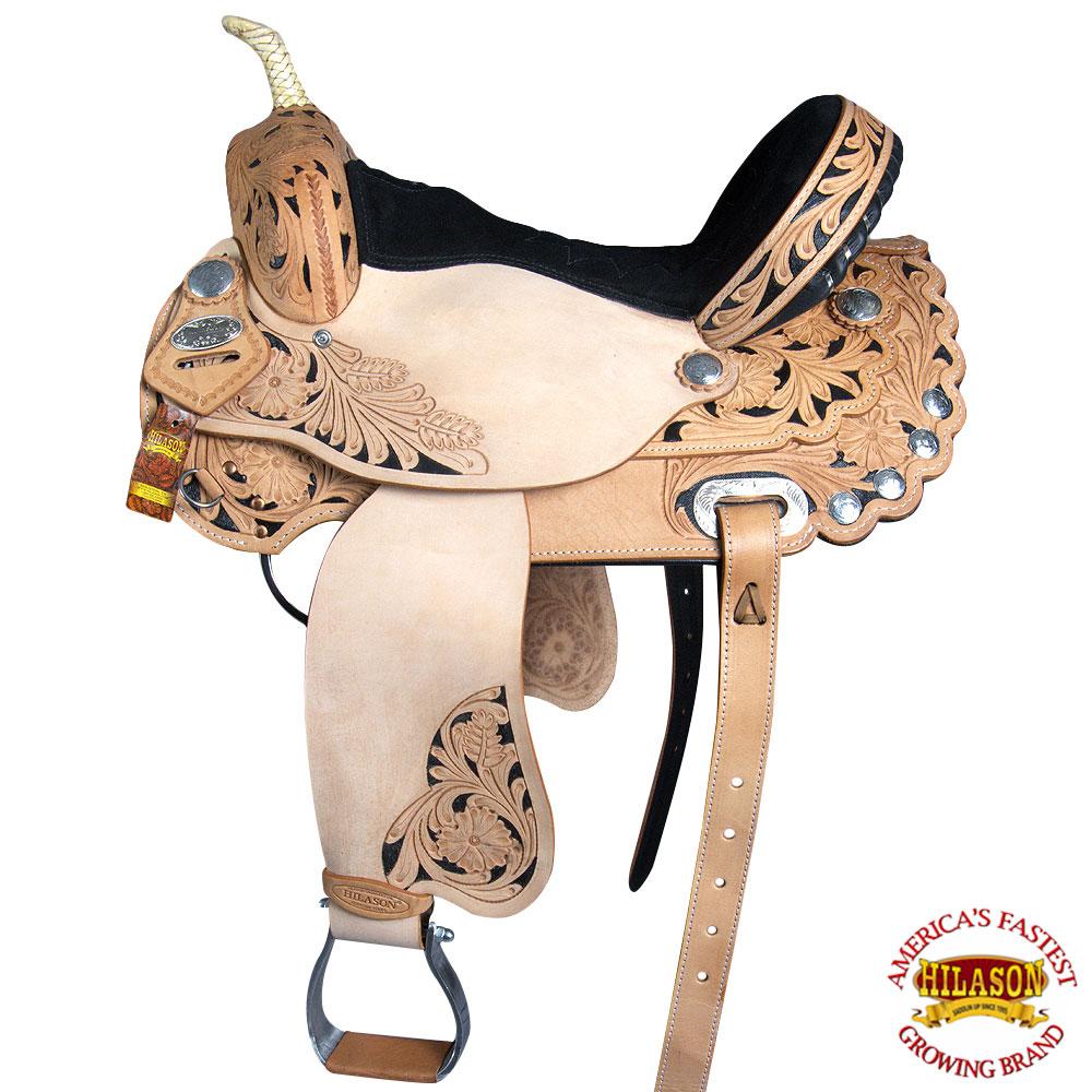 "15"" Hilason Western Leather Horse Treeless Saddle Barrel Racing Trail Pleasure"