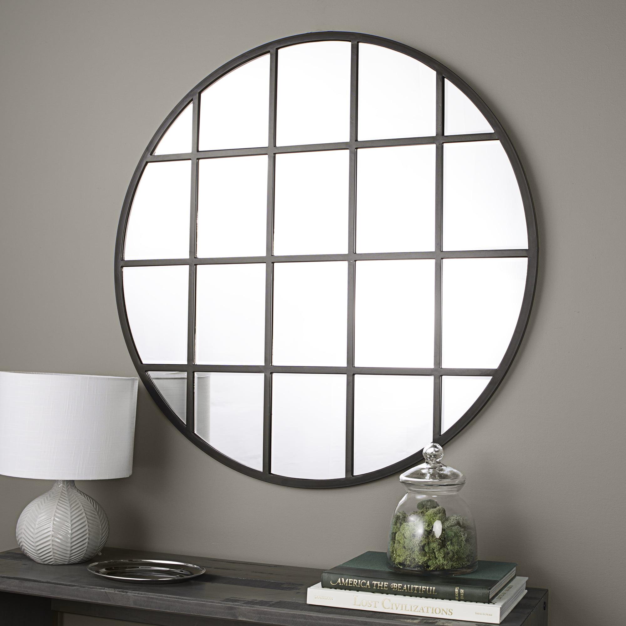 """40"""" Round Beveled Window Mirror by WE Furniture"""