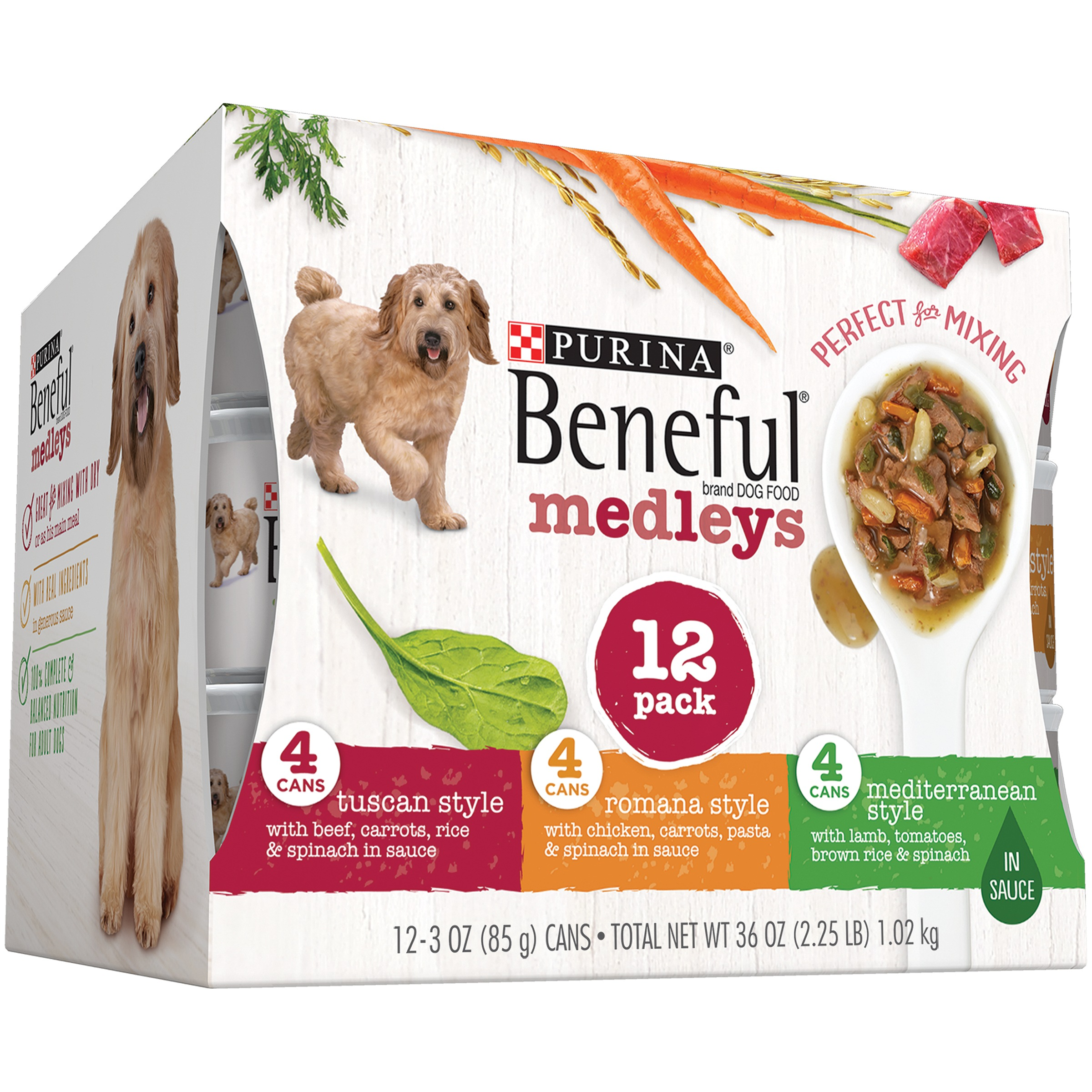 Purina Beneful Medleys Tuscan, Romana & Mediterranean Style Variety Pack Wet Dog Food, 3 Oz, Case of 12