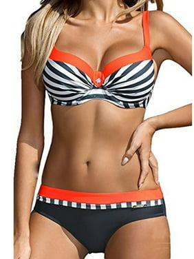 eada78f85a849 Free pickup. Product Image Juniors' Fashion Stripe Bikini Set Plus Size  Swimsuit Padded Swimwear Bandeau Bathing Suit Four Style