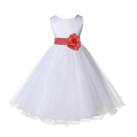 283ceff1b83 Ekidsbridal Wedding Pageant White Flower Girl Dress Tulle Rattail Edge  Toddler Junior Bridesmaid Recital Easter Dress Holiday Special Occasions  Birthday ...