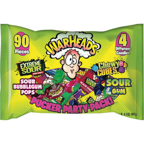 Warheads Candy Pucker Party Pack, 90 ct, 20 oz Bag