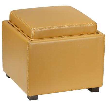 Cortesi Home Mavi Storage Tray Ottoman In Bonded Leather Yellow