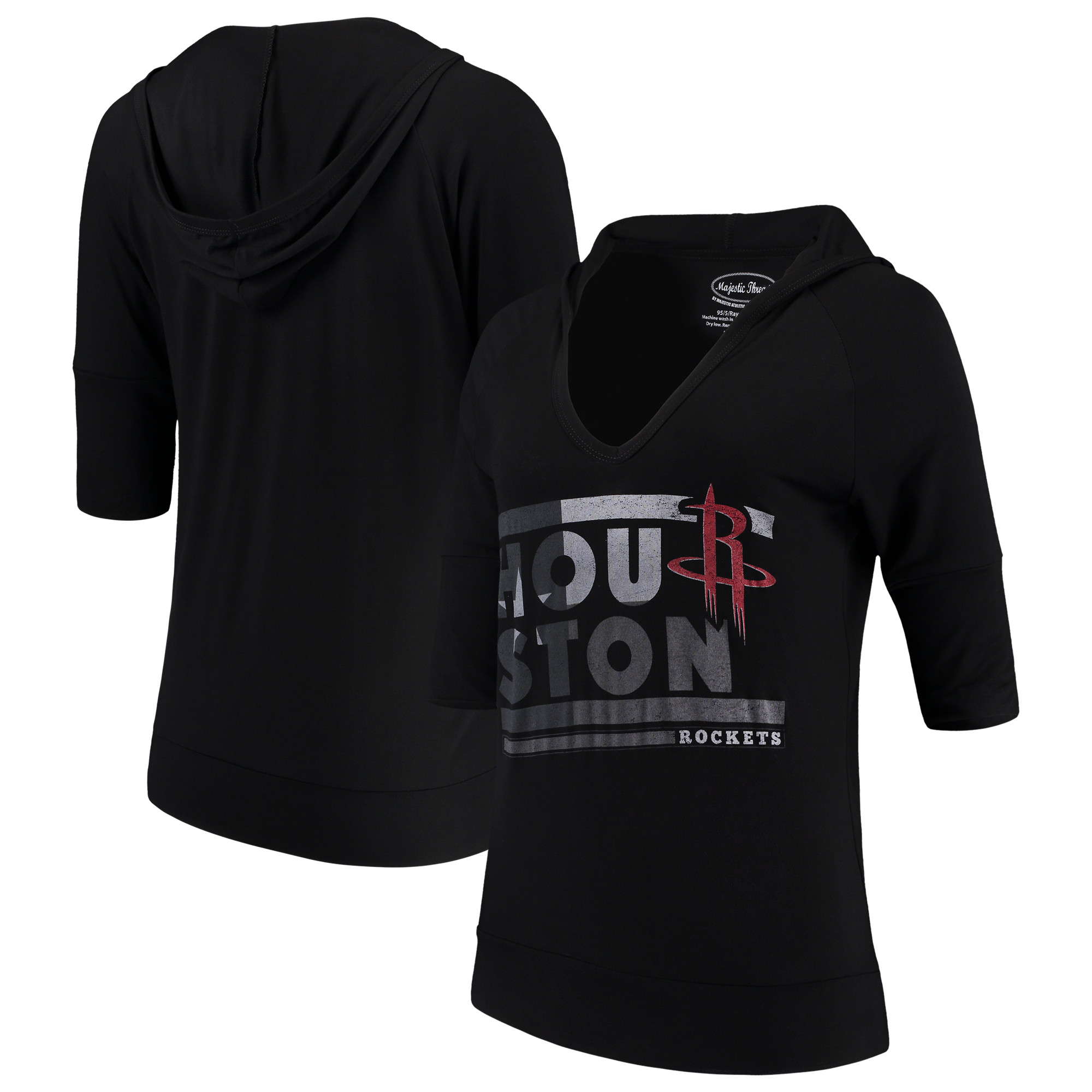 Houston Rockets Majestic Threads Women's City State Elbow Sleeve V-Neck Hooded Pullover Top - Black