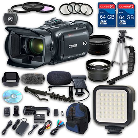 Canon XA30 HD Professional Camcorder + Wideangle Lens + Telephoto Lens + Lens Hood + 2 PC 64 GB Memory Cards + Tripod + LED Light + 3 PC Filter (Best Professional Camcorders)