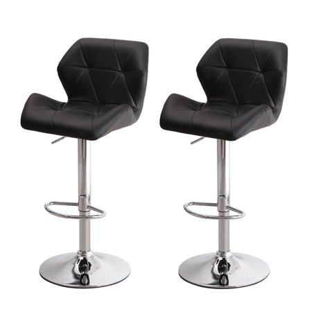 Joveco Black Armless Bottom Tufted Leatherette Adjustable Barstool Chrome Finish Pedestal Base (Set of 2)