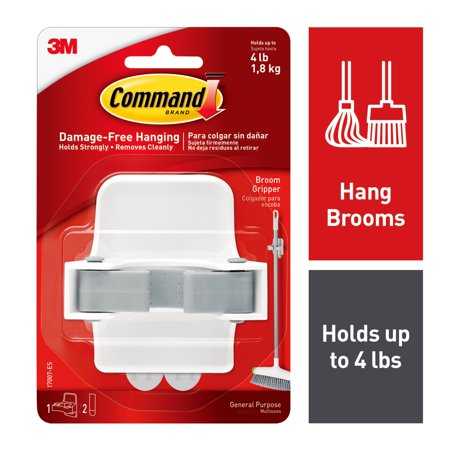 Command Broom Gripper, White and Grey, 1 Gripper, 2 Strips (Holds up to 4 -