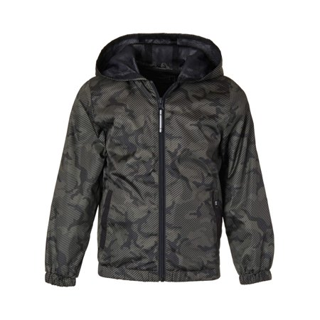 Camo Print Zip Up Windbreaker Jacket (Big Boys)