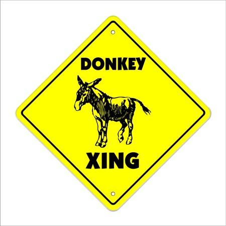 Donkey Crossing Sign Zone Xing | Indoor/Outdoor | 12