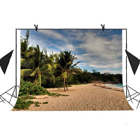 HelloDecor Polyester Fabric 7x5ft Beach Photography Backdrop Coconut Trees Beach Forest Blue Sky Picture Beach Party Wedding Photography Photo Booth Curtain Background (Beach Party Backdrop)