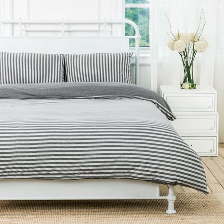 PURE ERA Duvet Cover Set - Ultra Soft Heather Jersey Knit Cotton Home Beddings Stripes Grey King Size, 1 Comforter Cover and 2 Pillow Shams, Model # PE-18SG-K