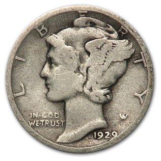 America Mercury Dime (1929-D Mercury Dime Good/Fine )