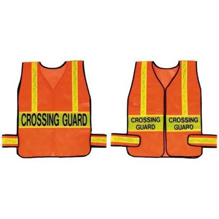 Olympia Sports SF222P Crossing Guard Vest - Orange with Lime - -