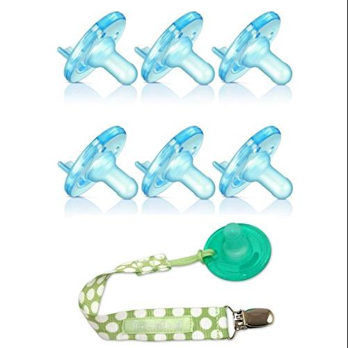 Avent BPA Free Soothie Pacifier 6 Pack - 3+ Months with Pacifier Holder, Blue