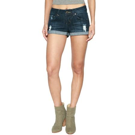 Rise Cuffed Short - TheMogan Women's Vintage Destroyed Jean Cuffed Mid Rise Denim Shorts Dark M