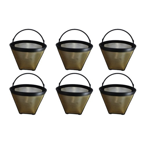 Crucial 4 Cup Gold Tone Coffee Filter (Set of 6)