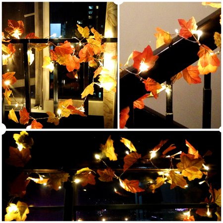 Ymiko 20 LEDs Fall Maple Leaf Garland String Lights 8.2 Feet Decorative Lights for Party Thanksgiving Decor ()
