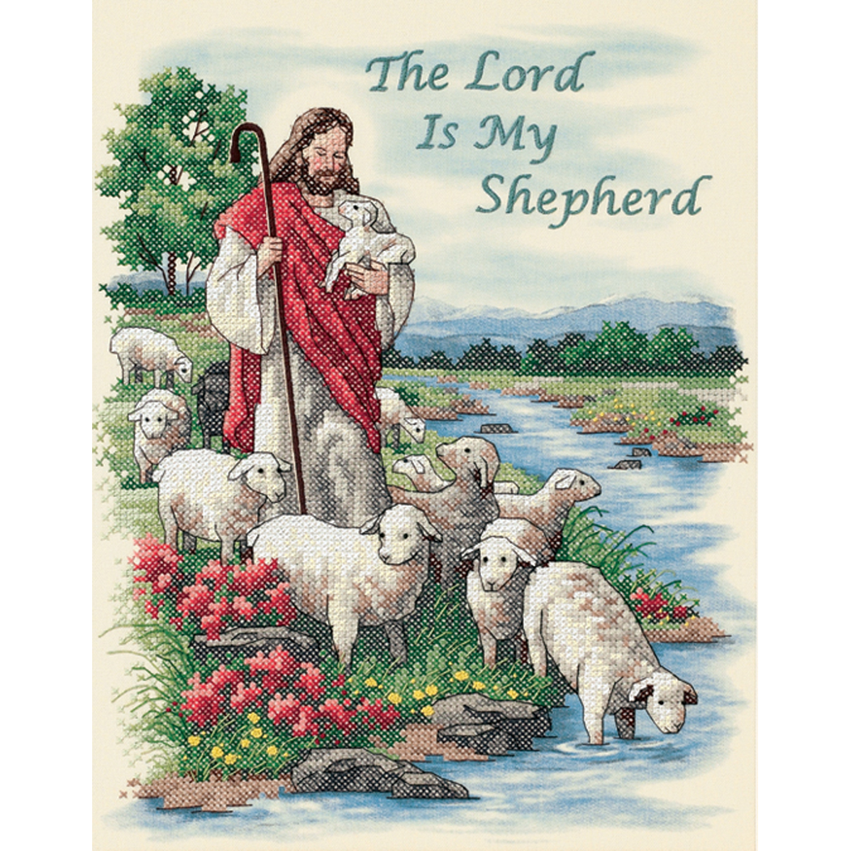 "Dimensions ""The Lord Is My Shepherd"" Stamped Cross Stitch Kit, 11"" x 14"""