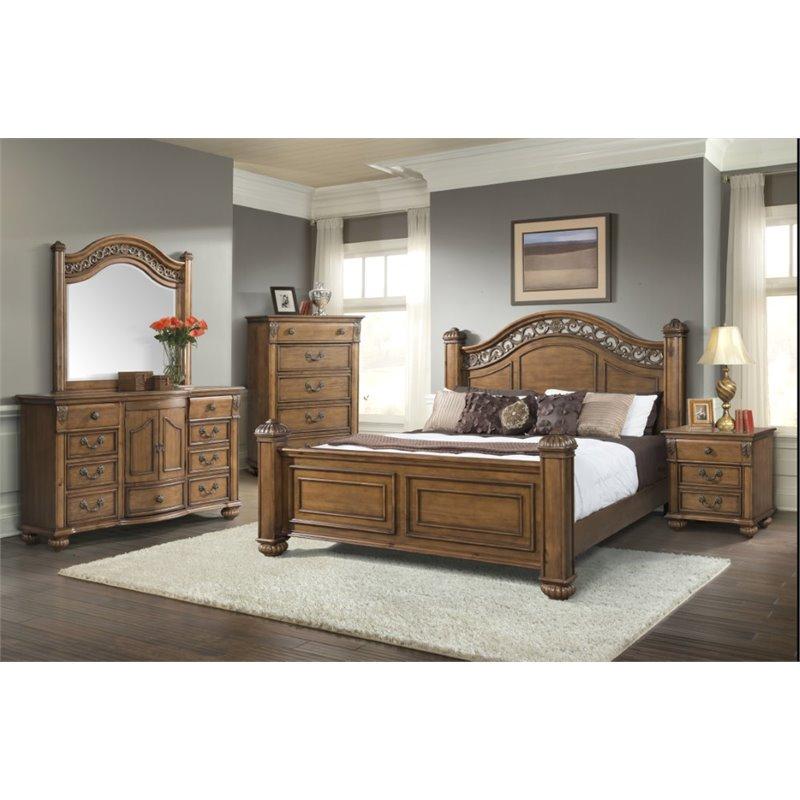 Beau Picket House Furnishings Barrow 6 Piece King Bedroom Set In Oak