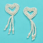 Pearl Trim Appliques (Expo Int'l Bridal Pearl Heart with Dangles Applique Pack of 2)