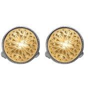 Phillip Gavriel 18K Gold & Sterling Silver Byzantine Filigree Round Cuff Links