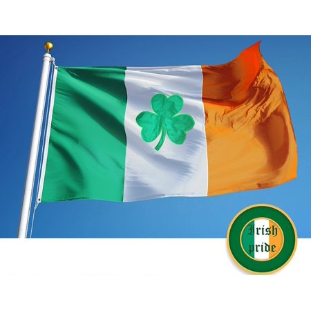 G128 Irish Shamrock Flag 150D Quality Polyester 3x5 ft Printed Brass Grommets Flag Indoor/Outdoor - Much Thicker and More Durable than 100D and 75D Polyester