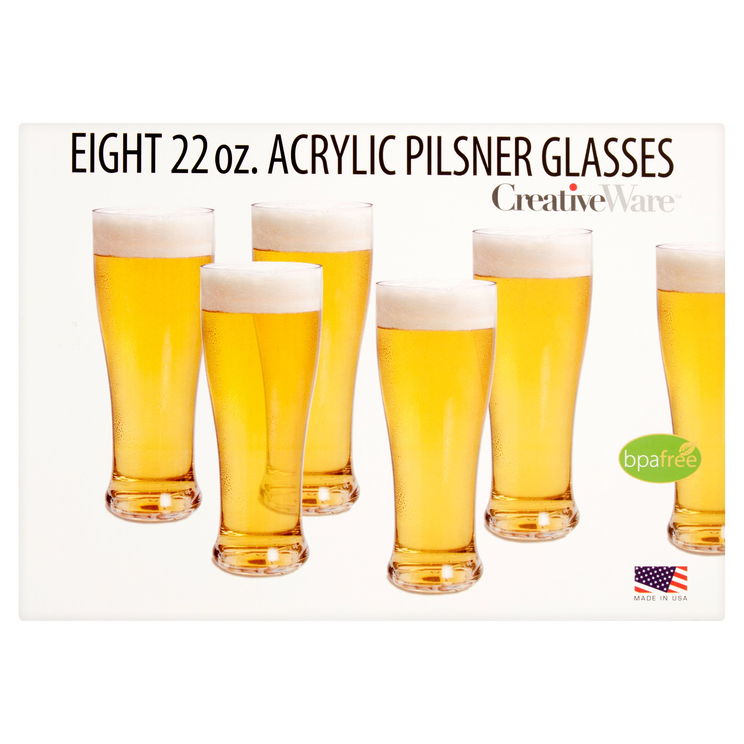 Creative Ware 22 oz. Eight Acrylic Pilsner Glasses