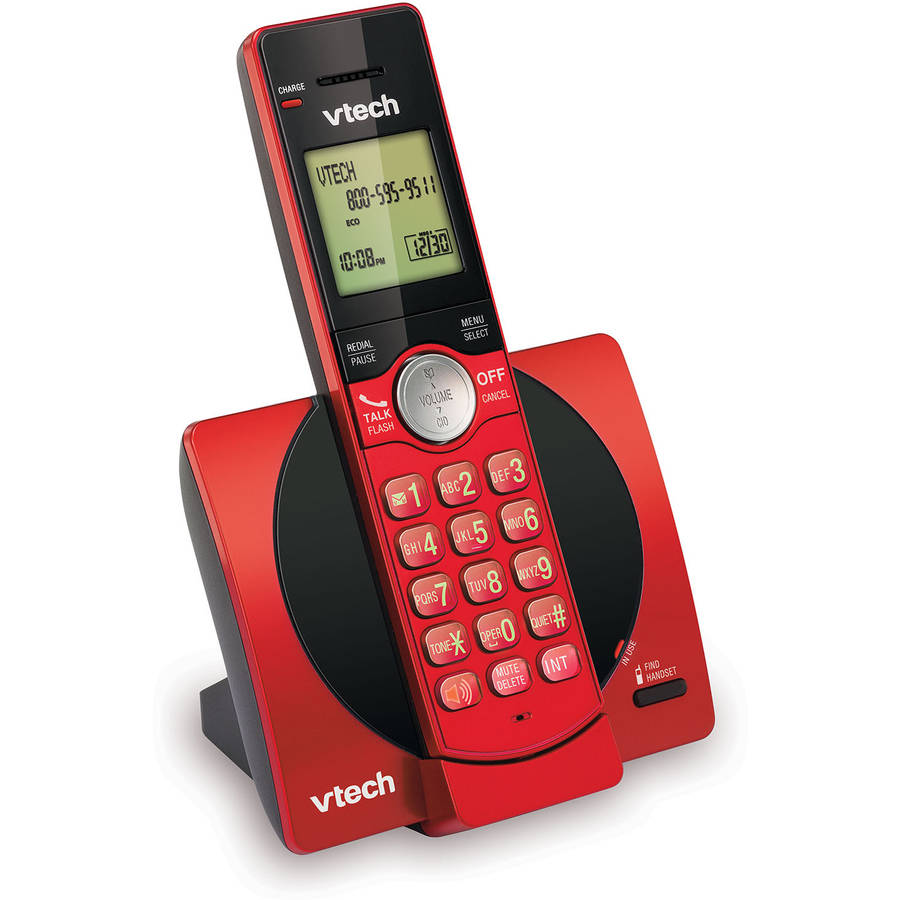 VTech CS6919-16 DECT 6.0 Expandable Cordless Phone with Caller ID and Handset Speakerphone, Red
