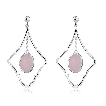 Oval Rose Quartz Sterling Silver Designer Dangle Earrings Rose Quartz Loop Earrings