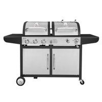 Royal Gourmet ZH3002 3-Burner 27,000-BTU Dual Fuel Cabinet Gas and Charcoal Grill Combo, Outdoor Barbecue, Black