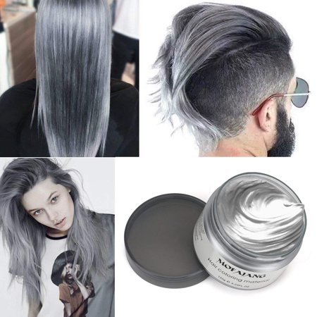Hair Wax Temporary Hair Coloring Styling Cream Mud Dye - Gray (White Halloween Hair Dye)