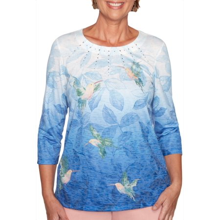 Alfred Dunner Womens Pearls of Wisdom Humming Bird Ombre Top