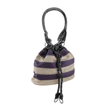 Striped Animal Print Cinch Style Shoulder Bag