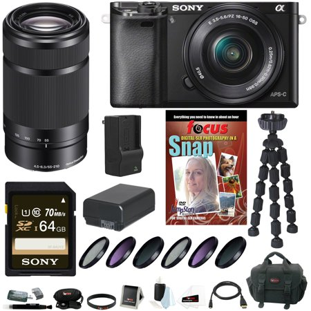 Sony Alpha A6000 Mirrorless Digital Camera With 16 50Mm And 55 210Mm Lens Bundle And 64Gb Deluxe Accessory Kit