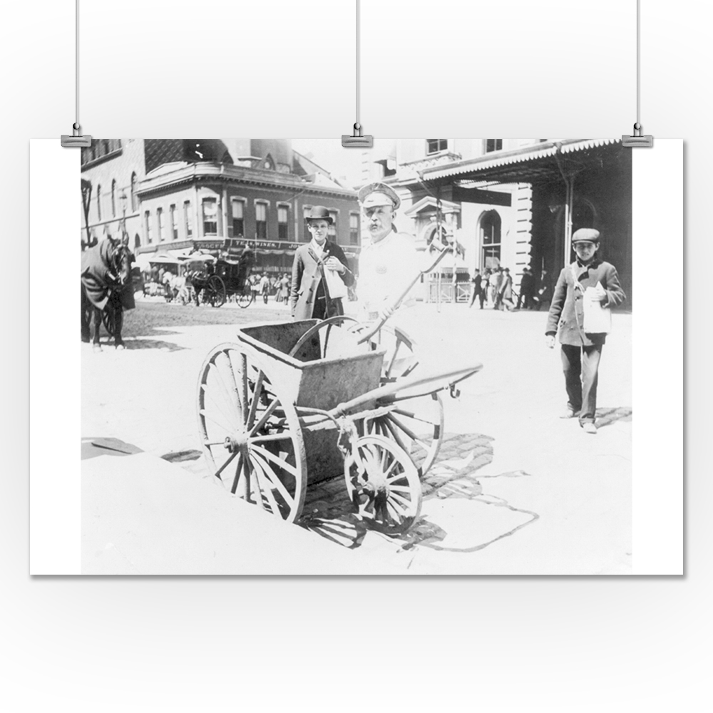 Lantern Press Street Sweeper with His Handcart NYC Photo ...