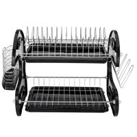 Ktaxon 2-Tier Large Stainless Steel Black Dish Drainer Drying Rack