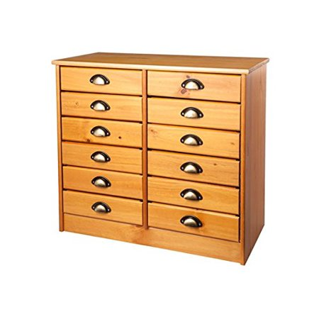 Adeptus Twelve Drawer Taboret Cabinet  Medium Pine