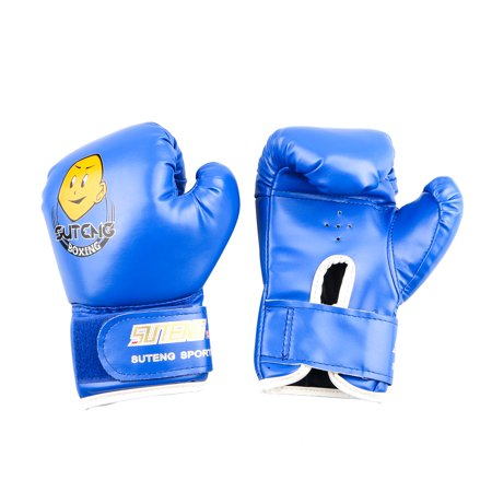 TSV New Kids Children Cartoon PU Leather Sparring Grappling Punch Training Boxing Gloves Age 3-12 (Leather Striking Training Gloves)