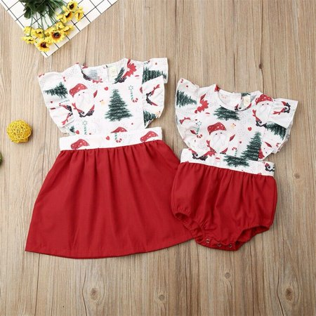 Baby And Toddler Matching Halloween Costumes (Newborn Toddler Baby Girl Xmas Sister Matching Clothes Santa Romper Dress)