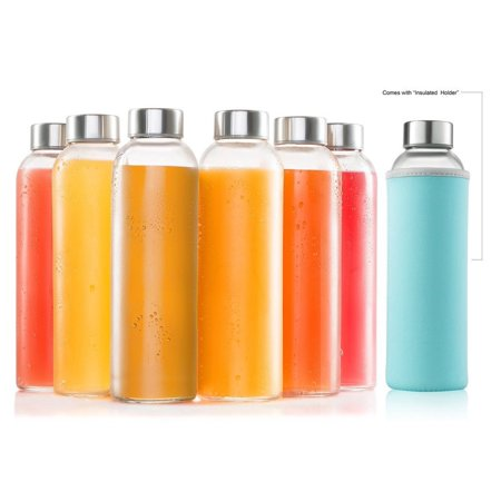 Glass Bottles 6 Pack 18oz - Includes 6 Sleeves - Water Bottle Glass With Stainless Steel Caps With - Leak-Proof Lid
