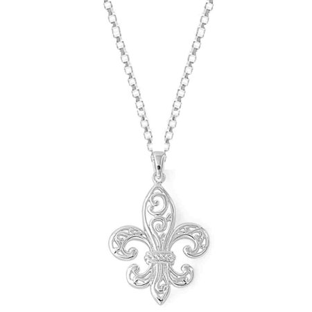 Sterling Silver Fleur De Lis Pendant Womens Jewelry Necklace (18 Inch)
