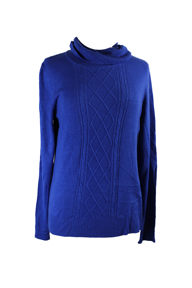 GIFT KAREN SCOTT Sweater Stretch Rib Knit Mock Turtleneck BRIGHT BLUE Top