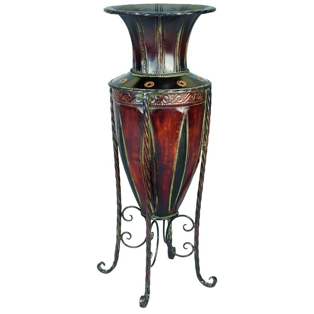 Metal Vase 27-Inch H, 10-Inch W