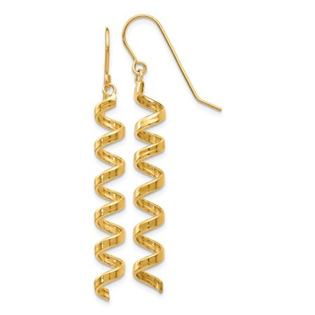 14k Yellow Gold Fancy Spiral Drop Earrings for Womens