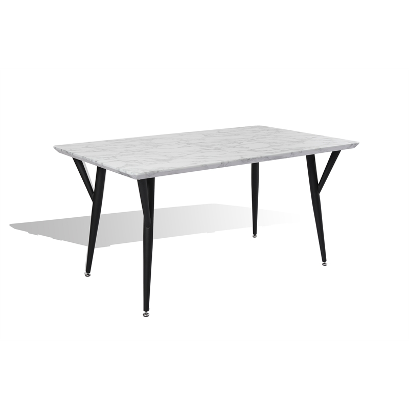 New Spec Mid Century Faux Marble Top Dining Table In White And Black Walmart Com Walmart Com