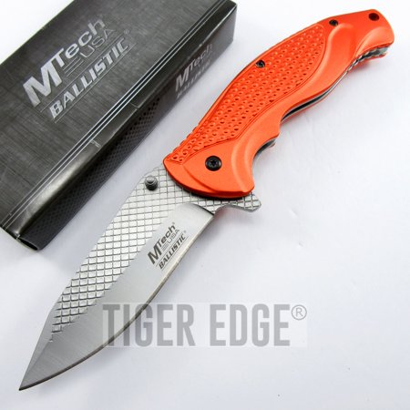 Orange Aluminum Knife (SPRING ASSISTED FOLDING POCKET KNIFE | Black Cross Hatch Blade Tactical)
