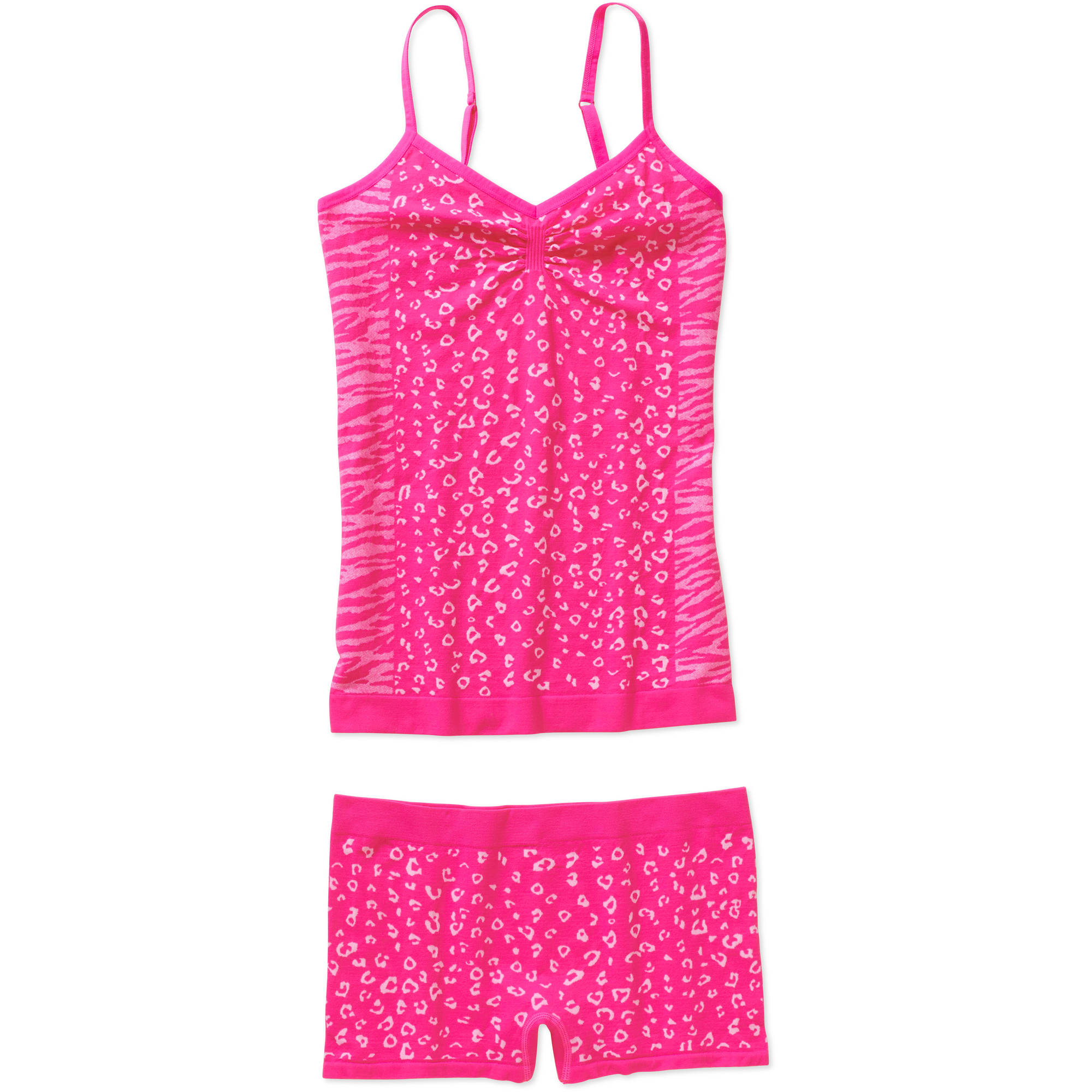 No Boundaries Juniors Seamless Jacquard Yoga Cami and Panty Set