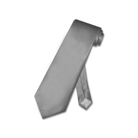 Biagio 100% SILK NeckTie Solid CHARCOAL GREY Color Men's Gray Neck -