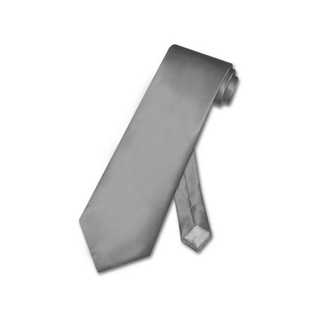 - Biagio 100% SILK NeckTie Solid CHARCOAL GREY Color Men's Gray Neck Tie